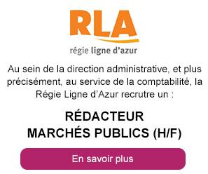 Au sein de la direction administrative, et plus précisément, au service de la comptabilité, la Régie Ligne d'Azur recrutre un : Rédacteur marchés publics (H/F)