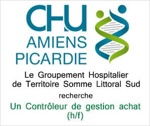 CHU Amiens recherche controleur de gesstion achats
